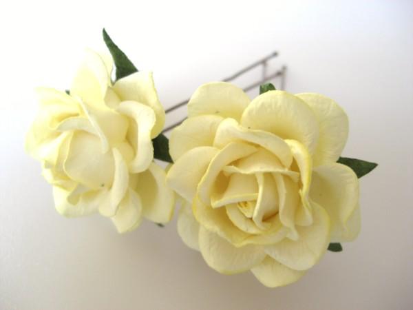 Pale lemon yellow large rose hair flowers mightylinksfo
