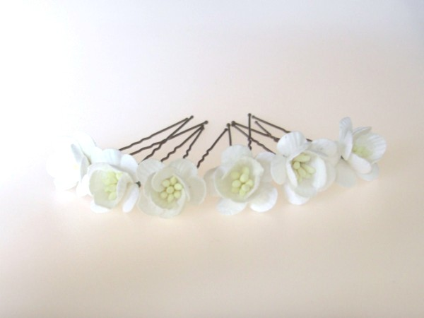 White cherry blossom hairpins