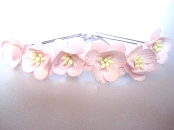 Pink cherry blossom hair flowers