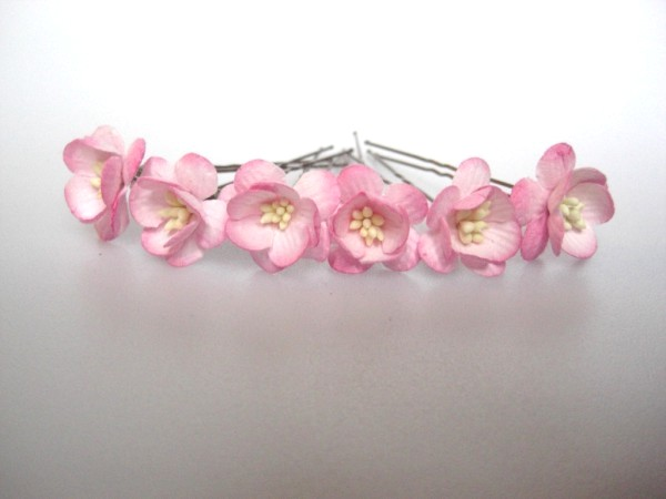twotone pink cherry blossom wedding hairflowers